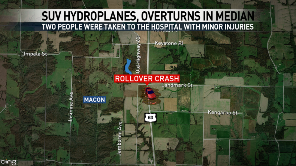 Two people injured after SUV hydroplanes, overturns in Macon